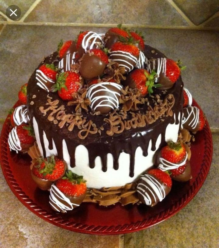 Chocolate Strawberry Drip Cake